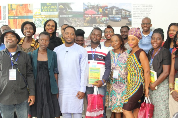 'Africa 39' authors with Ken Saro-Wiwa Jr. (middle in light blue kaftan)