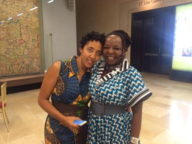 Namwali Serpell (left) and  Africa39 editor, Ellah Allfrey at the 2015 Caine Prize award ceremony.